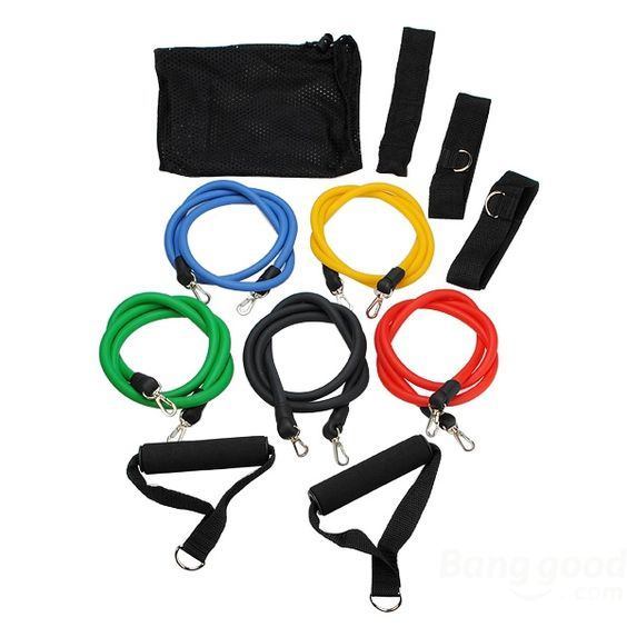 Wholesale 11 PC Latex Resistance Bands Exercise Set