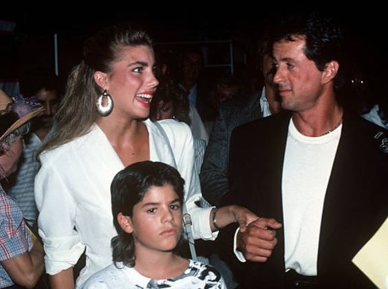 January 01, 1988  Sylvester Stallone and son Sage Stallone along with Jennifer Flavin in Los Angeles, California, in 1988.