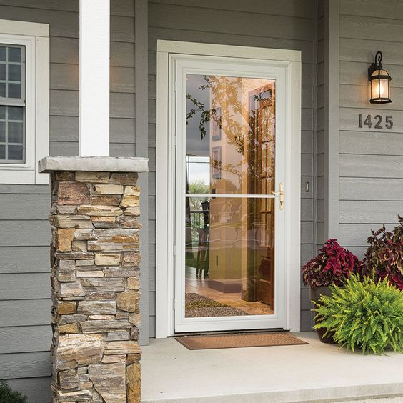 Retractable screens storm doors and safety on pinterest for Full view exterior door