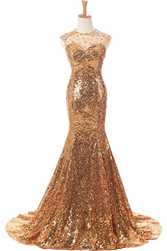 Sunvary Gold Jewel Mermiad Sequin Prom Dance Dress for Mo...