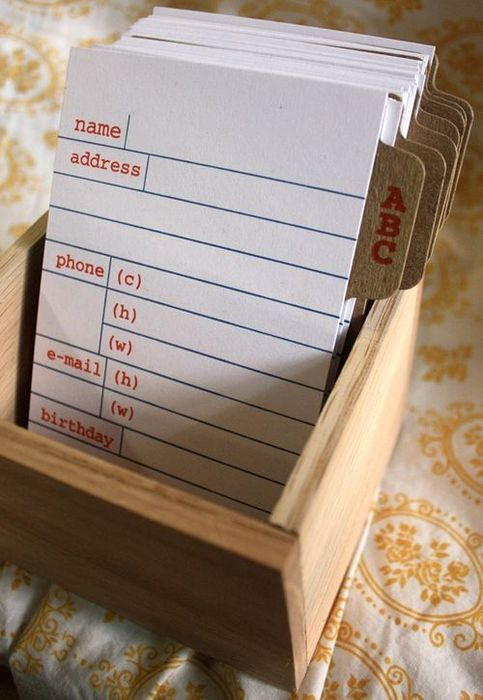 Instead of a guest book---address cards! Really helpful to have everyone's information right away =).  Really neat idea!!