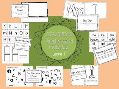 Houghton Mifflin Harcourt Journeys - Kindergarten - Lesson 1  Supplemental Materials for centers and stations