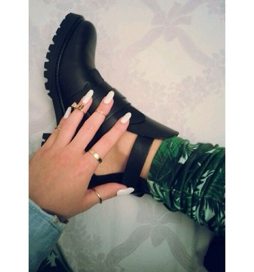 Boots and white nails