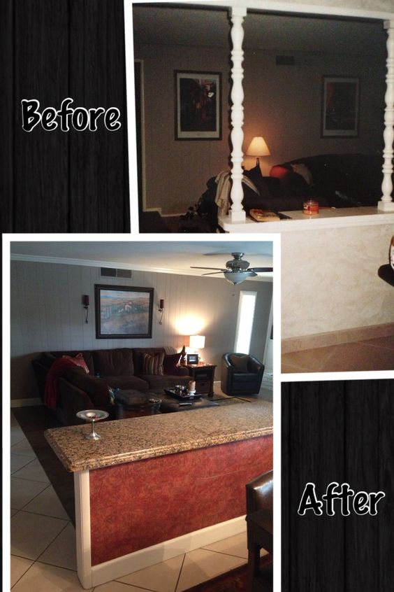 """Remove """"spindles"""" on half wall to open & update a space. Add a granite counter & stools for additional seating & eating area!"""
