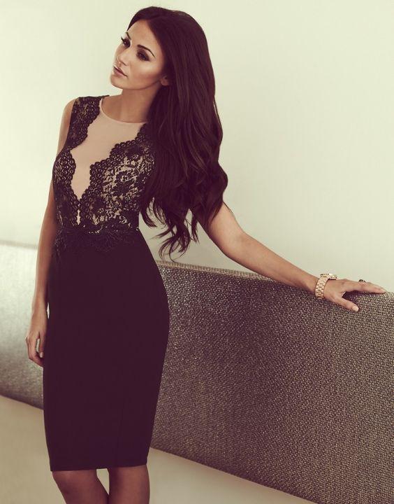 Michelle Keegan Mesh V Neck Bodycon Dress