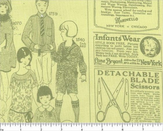 Vintage Sewing and Pattern FABRIC  DorothyPrudieFabrics