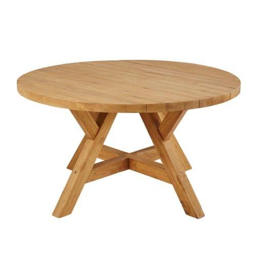 Table de jardin ronde en teck recyclé 6 personnes D140 en ...