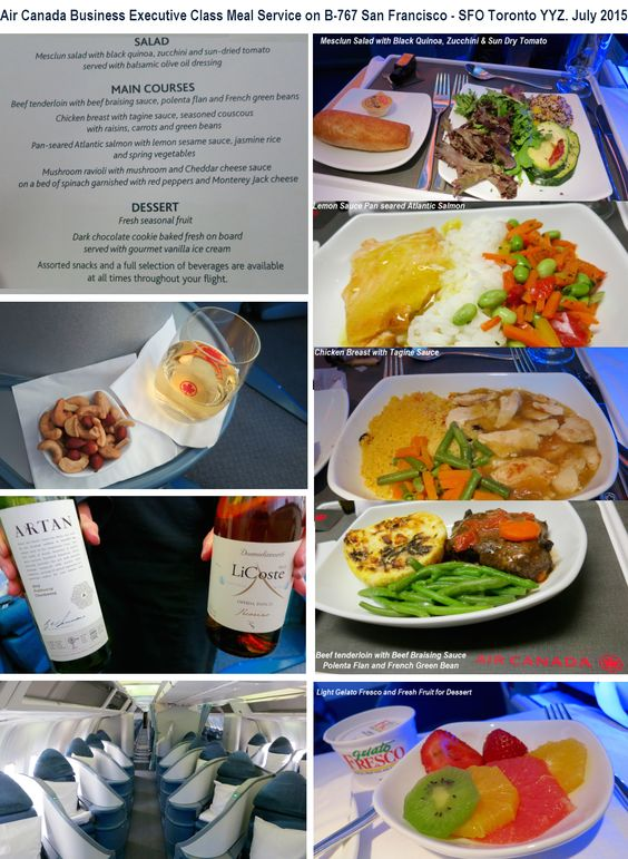 air canada business class meal service on b 767 san. Black Bedroom Furniture Sets. Home Design Ideas