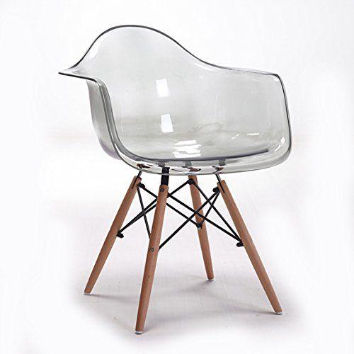 Lrw European Leisure Chair Transparent Armrest Dining Chair