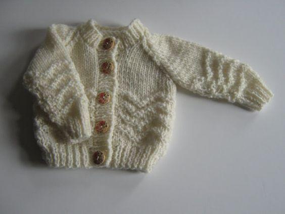 Hand knitted jacket with zig zag pattern. by Nobodyknitsitbetter