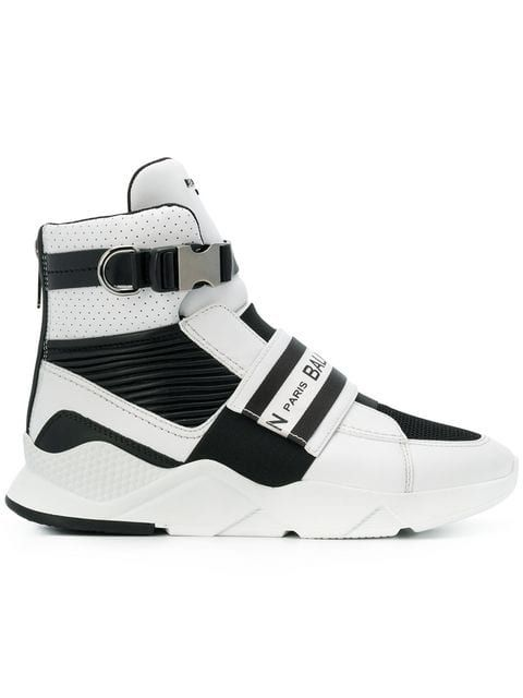 Balmain Exton White Perforated Leather High Top Men S Sneakers In