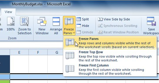 Selecting The Freeze Panes Command From The View Tab Excel Tutorials Excel Worksheets