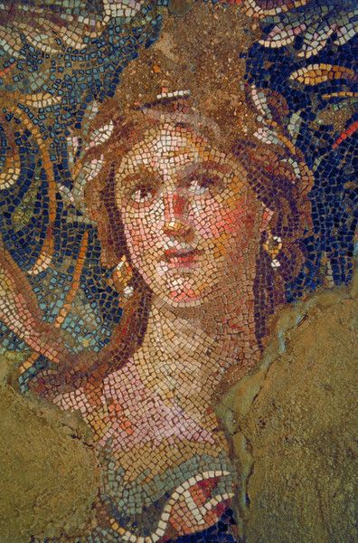 A mosaic preserved in Zippori (Sephoris) National Park in Israel, site of excellent Roman ruins and mosaics.: