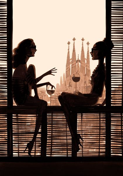 Illustration by Jordi Labanda, with Gaudí's Sagrada Familia in the background. Barcelona is a lovely city, even when not the main focal point. :):