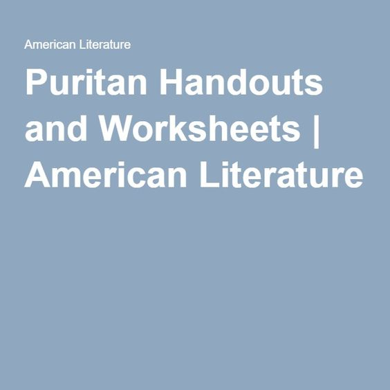 Printables American Literature Worksheets puritan handouts and worksheets literature american literature