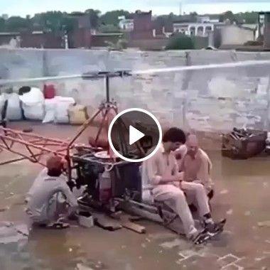 Esses caras são malucos fizeram um helicóptero caseiro.