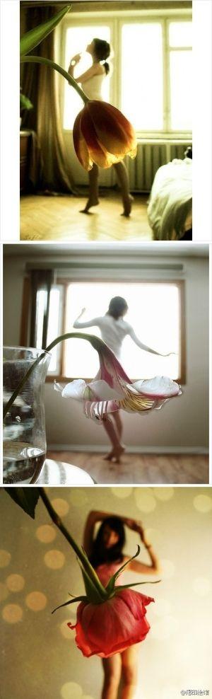 Perspectiva aqui é usado para criar uma série muito feminina de fotos. Ele também cria uma sensação de movimento, visto facilmente na foto do meio com o lírio.
