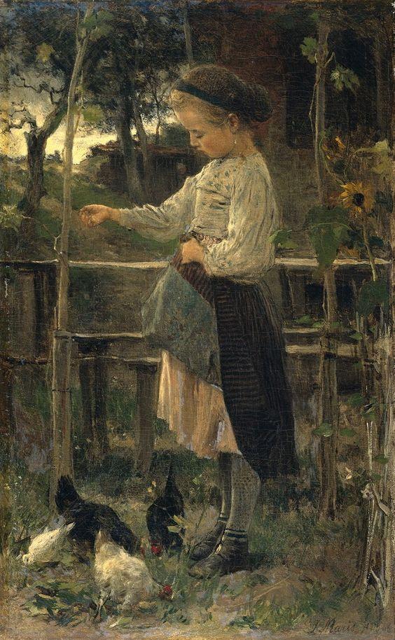 Feeding chicks Jacob Maris - 1866: