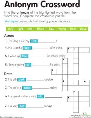 Antonym Crossword | Phonics worksheets, Second grade and Articles