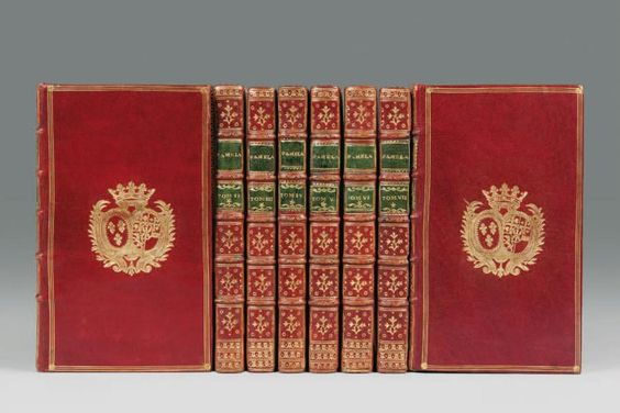 Books on famous people from the Roman antiquity bearing the arms of the Comtesse de Provence