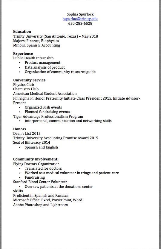 Public Health Internship Resume Example Sophia Spurlock Sspurloc Trinity Edu 650 283 6528 Education Trinity Univer Resume Examples Internship Resume Internship