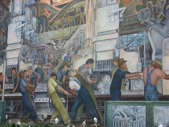 Technology art and the o 39 jays on pinterest for Diego rivera detroit mural