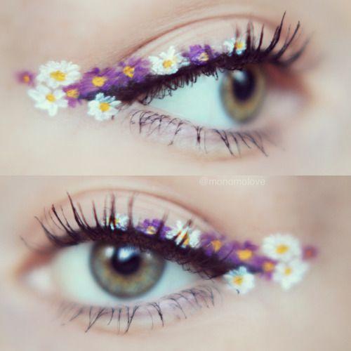 flower designs as eyeliner #creativemakeup