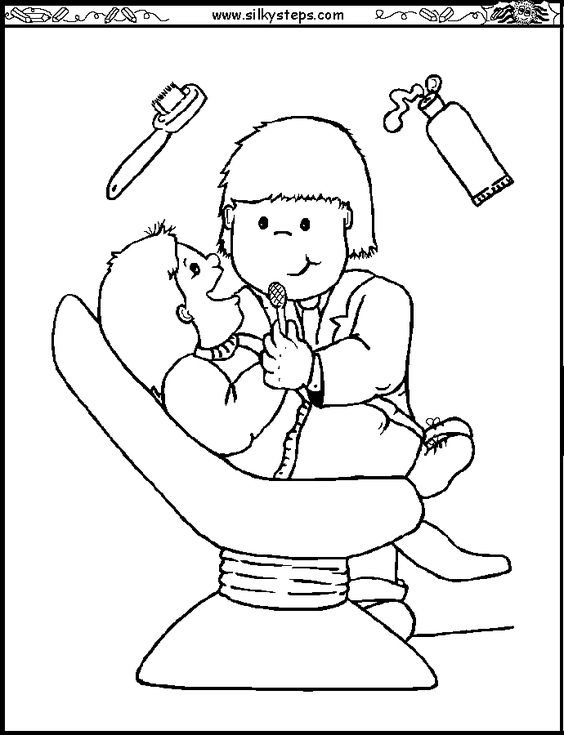 jobs coloring worksheet | Dentist colouring picture - people who ...