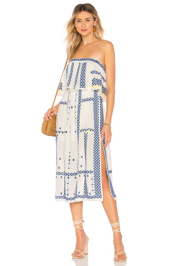 Free People Wild Romance Embroidered Dress in Ivory