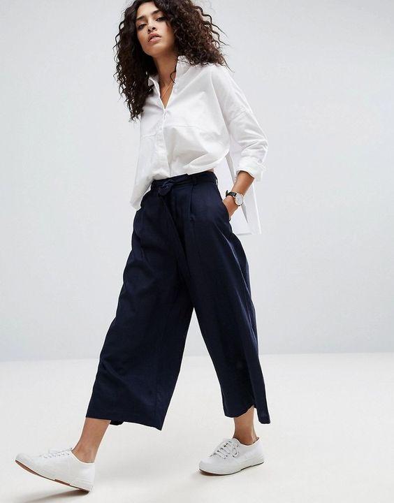 Asos Linen Culotte Pants