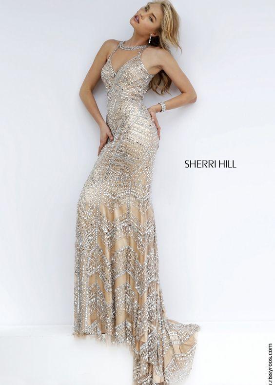 Sherri Hill 1959 Glamorous Silver Jeweled Evening Gown, Elegant Prom 2016 Dresses #sherrihill #prom2016: