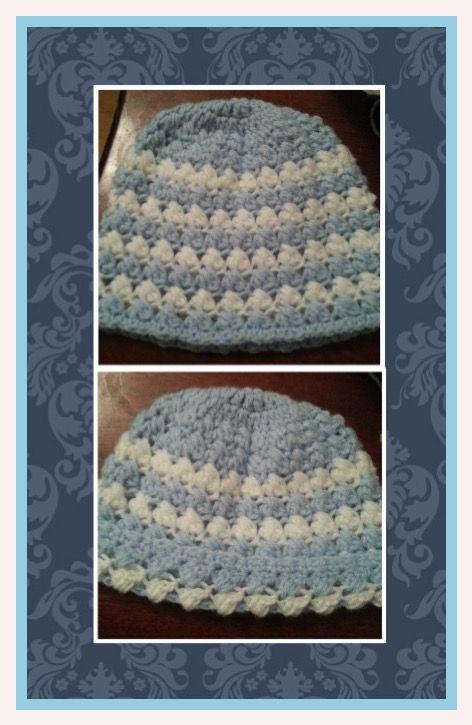 Crochet hat with criss cross puff stitch