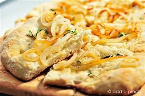 Caramelized Onion and Thyme Flatbread Recipe | Finger food | Pinterest ...