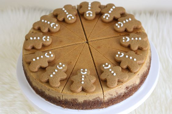 Gingerbread Cheesecake (via That Winsome Girl) perfect for Christmas dinner! Sandy Kelly's Daughter-in-law! Pretty cool! This looks amazing and I LOVE Gingys!