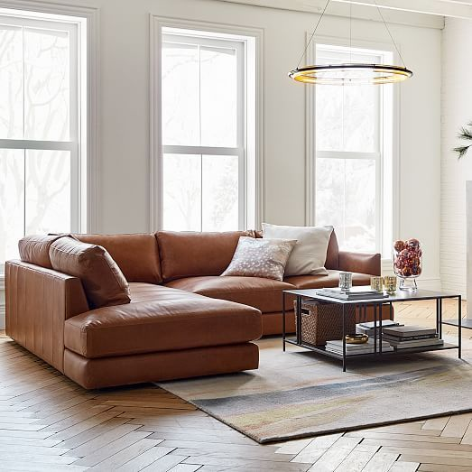Haven Leather 2 Piece Terminal Chaise Sectional In 2020
