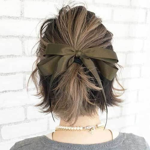 Ribbon Updos For Short Hair Short Hair Styles Short Hair Updo Short Hair With Bangs