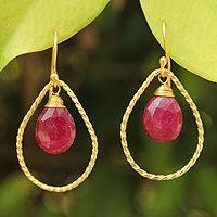 Gold vermeil ruby dangle earrings, 'Empress'