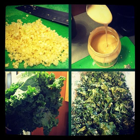 Garlicky Kale: lots of chopped garlic; 1/4 cup tahini, lemon juice, water, and a bunch of delicious kale. Warning: don't eat at work or before a date, unless your date is eating with you!