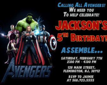 Invitación Superheroes personalizada Los avengers por PrinterFairy