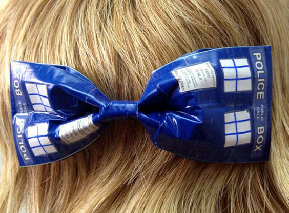 Doctor Who TARDIS Duct Tape Hair Bow by PyrateWench on Etsy