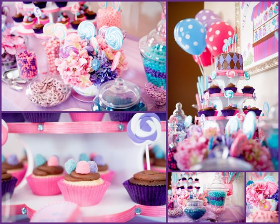 Candy Buffet.   Pink, teal and Purple Candy Buffet for a Candyland Themed Party.  Designed @ www.sugarplumit.com.  Cupcakes by http://simply-sweets.com
