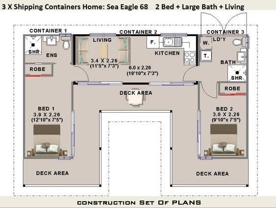 3 X Shipping Containers 2 Bedroom Home Full Construction House Plans Blueprints Usa Feet Inches Australian Metric Sizes On Sale Shipping Container Home Designs Container House Container House Plans