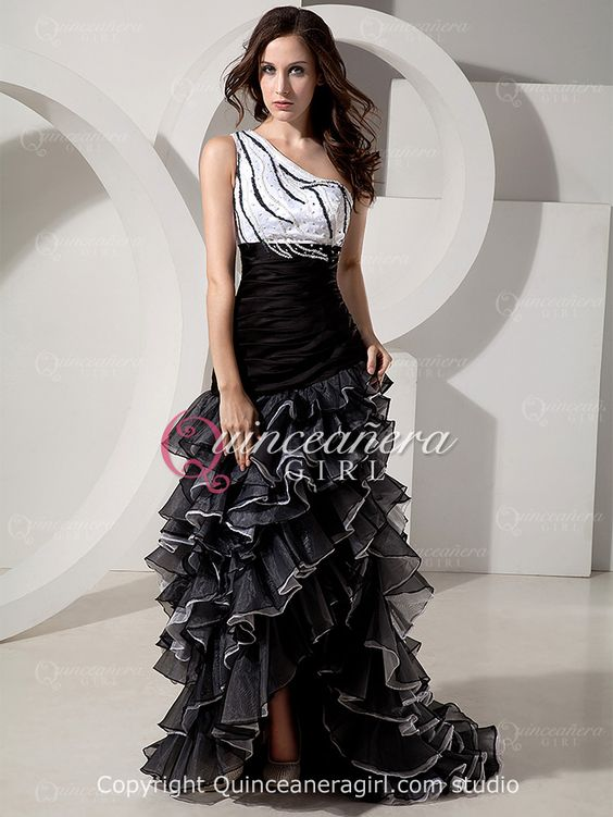 White Black A-Line One Shoulder Organza High Low Quinceanera Dress - US$160.99 - Style Q0086 - Quinceanera Girl