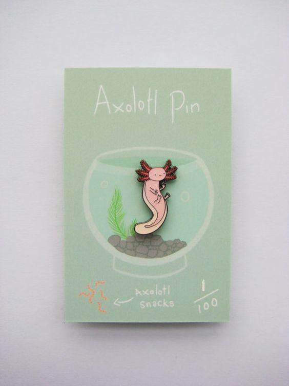 Axolotl enamel pin by HannahHitchman on Etsy