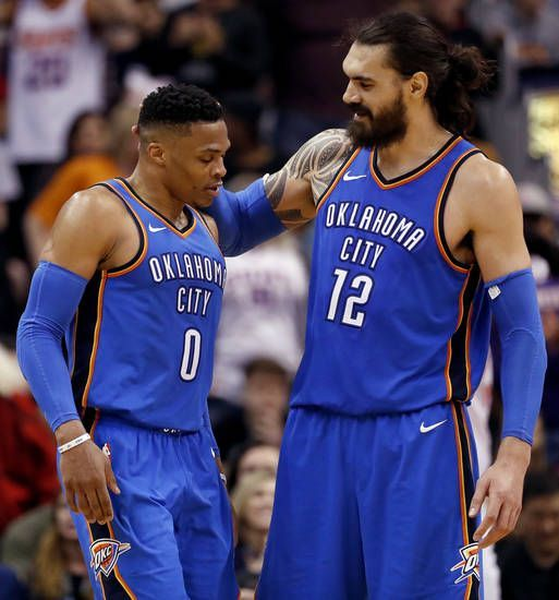 Oklahoma City Thunder Center Steven Adams 12 Embraces Guard Russell Westbrook 0 After Westbrook Wa Basketball Clothes Thunder Players Oklahoma City Thunder