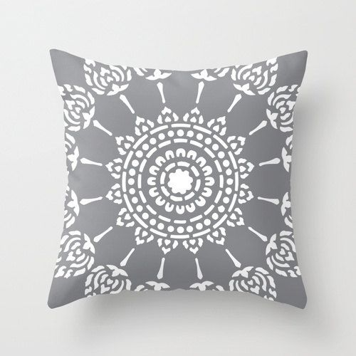Geometric Mandala Pillow Cover - Slate Grey - Neutral ...