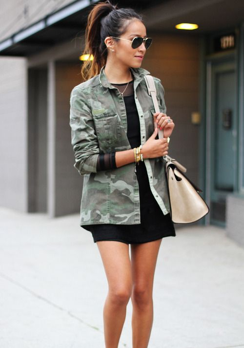Camo jacket with little black dress - Styles Worth The Splurge ...