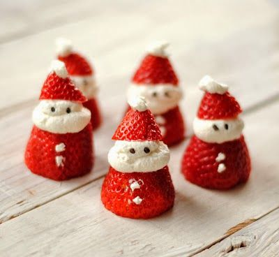Father Christmas strawberries.  Torn between wanting to make some and feeling guilty buying strawberries out of season.☺:
