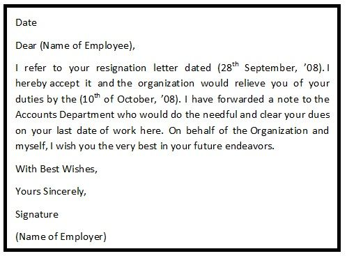 A resignation acceptance letter is the letter to an employee from - letter of credit
