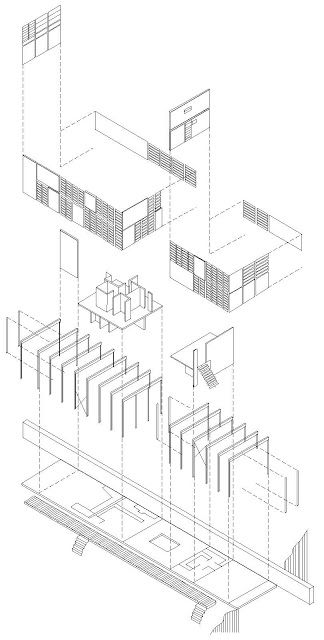 Relationship Of Elevation To Plan : Eames house exploded axonometric of charles